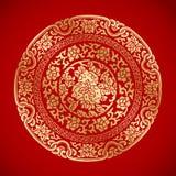 Κινεζικά εκλεκτής ποιότητας στοιχεία στο κλασικό κόκκινο υπόβαθρο Στοκ Εικόνα