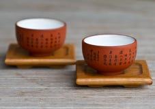 Χαριτωμένα κινεζικά φλυτζάνια τσαγιού Στοκ Φωτογραφία
