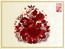 κινεζικά λουλούδια ερυθρά Στοκ Εικόνες
