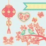 Κινεζικά στοιχεία papercut Στοκ Φωτογραφίες