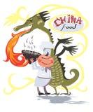 Κινεζικά τρόφιμα παράδοσης Διανυσματικό λογότυπο με ένα κάρρο Στοκ Εικόνες