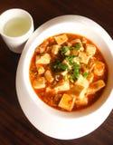 Κινεζικά τρόφιμα, doufu κινέζικα Mapo στο άσπρο πιάτο Στοκ εικόνα με δικαίωμα ελεύθερης χρήσης