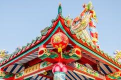 Κινεζικά φανάρια σε έναν κινεζικό ναό Στοκ φωτογραφίες με δικαίωμα ελεύθερης χρήσης