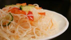κινεζικά noodles γυαλιού απόθεμα βίντεο