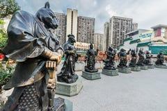 Κινεζικά Zodiac αγάλματα Sik Sik Yuen Wong Tai Sin Temple Kowloon Στοκ Εικόνα
