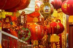 Κινεζικές φανάρια και διακοσμήσεις Στοκ εικόνα με δικαίωμα ελεύθερης χρήσης