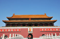 Κινεζική αρχαία οικοδόμηση της πύλης TianAnMen Στοκ Εικόνα