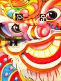 Κινεζική ζωγραφική λιονταριών Στοκ Φωτογραφίες