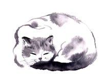 Κινεζική ζωγραφική χεριών μελανιού της γάτας ελεύθερη απεικόνιση δικαιώματος