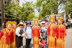 Κινεζική κοινοτική ομάδα τρυπανιών κοριτσιών του Σιάτλ Στοκ Φωτογραφία