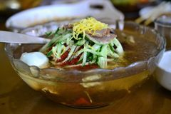 Κινεζική κορεατική σούπα νουντλς ύφους κρύα, lengmian, nengmyeon, κινεζικές λιχουδιές, ασιατικά τρόφιμα στοκ εικόνες