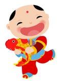 Κινεζική νέα ευχετήρια κάρτα έτους - αγόρι Στοκ εικόνες με δικαίωμα ελεύθερης χρήσης