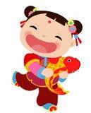 Κινεζική νέα ευχετήρια κάρτα έτους - κορίτσι Στοκ εικόνα με δικαίωμα ελεύθερης χρήσης