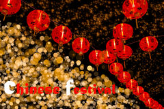 Κινεζική νέα διακόσμηση έτους--Τα κόκκινα φανάρια ακτινοβολούν επάνω, bokeh Στοκ Φωτογραφία