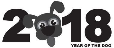 2018 κινεζική νέα διανυσματική απεικόνιση Grayscale σκυλιών έτους στοκ φωτογραφίες με δικαίωμα ελεύθερης χρήσης
