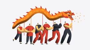 Κινεζική νέα παρέλαση χορού δράκων έτους Σεληνιακός χαρακτήρας ανθρώπων διακοπών της Ασίας στο εορταστικό κόμμα που απομονώνεται  ελεύθερη απεικόνιση δικαιώματος