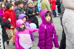 Κινεζική νέα παρέλαση έτους: Κινεζικά παιδιά Στοκ Εικόνες