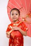 κινεζική ομπρέλα κοριτσιών Στοκ Εικόνες
