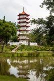 Κινεζική παγόδα κήπων της Σιγκαπούρης Στοκ Εικόνα