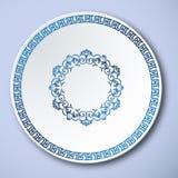 Κινεζική παραδοσιακή μπλε και άσπρη πορσελάνη, το πλαίσιο Σινικών Τειχών απεικόνιση αποθεμάτων