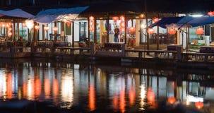 Κινεζική πόλη Zhouzhuang στη νύχτα Στοκ εικόνες με δικαίωμα ελεύθερης χρήσης