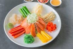 Κινεζική σαλάτα ακατέργαστων ψαριών, ένας ντόπιος της Κίνας Στοκ εικόνα με δικαίωμα ελεύθερης χρήσης