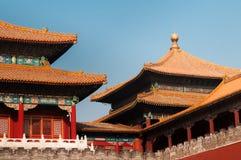 Κινεζική στέγη στην απαγορευμένη πόλη Στοκ Εικόνες