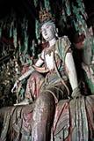 Κινεζική χρωματισμένη ύφος ξύλινη γλυπτική Στοκ Φωτογραφία