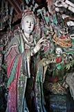 Κινεζική χρωματισμένη ύφος ξύλινη γλυπτική Στοκ Εικόνες