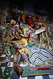 Κινεζική χρωματισμένη ύφος ξύλινη γλυπτική Στοκ φωτογραφίες με δικαίωμα ελεύθερης χρήσης