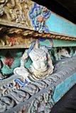 Κινεζική χρωματισμένη ύφος ξύλινη γλυπτική Στοκ φωτογραφία με δικαίωμα ελεύθερης χρήσης
