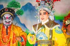 Κινεζική όπερα που εκτελείται για έναν σεληνιακό νέο εορτασμό έτους Στοκ εικόνα με δικαίωμα ελεύθερης χρήσης