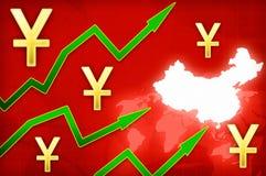 Κινεζική yuan απεικόνιση αύξησης νομίσματος με τα πράσινα επάνω βέλη Στοκ Εικόνα