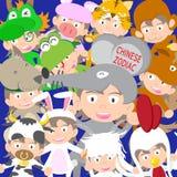 Κινεζική zodiac ζωική κούκλα παιδιών, έτος της απεικόνισης αρουραίων Στοκ Εικόνα
