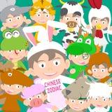 Κινεζική zodiac ζωική κούκλα παιδιών, έτος της απεικόνισης κουνελιών Στοκ Φωτογραφία