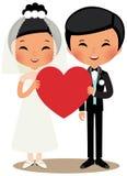 Κινεζικοί νύφη και νεόνυμφος ζευγών Στοκ Φωτογραφίες