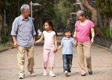 Κινεζικοί παππούδες και γιαγιάδες που περπατούν μέσω του πάρκου Στοκ Εικόνες
