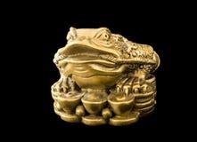 Κινεζικός βάτραχος Feng Shui με τα νομίσματα, σύμβολο για Στοκ εικόνα με δικαίωμα ελεύθερης χρήσης