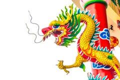 Κινεζικός δράκος με το άσπρο υπόβαθρο στοκ εικόνα