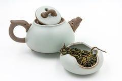 Κινεζικός δεσμός Guan Yin τσαγιού Oolong πράσινος με το μικρό δοχείο Στοκ φωτογραφία με δικαίωμα ελεύθερης χρήσης