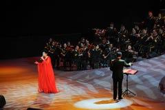 Κινεζικός διάσημος θηλυκός ήχος καμπάνας τραγουδιστών wenhua-TheFamous και classicconcert Στοκ Εικόνες
