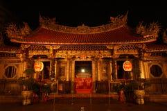 κινεζικός ναός σκηνής νύχτ&alpha Στοκ εικόνα με δικαίωμα ελεύθερης χρήσης
