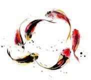 Κινεζικός παραδοσιακός διακεκριμένος πανέμορφος διακοσμητικός ζωγραφισμένος στο χέρι μελάνι-κυπρίνος Στοκ Εικόνα