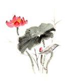 Κινεζικός παραδοσιακός διακεκριμένος πανέμορφος διακοσμητικός ζωγραφισμένος στο χέρι κρίνος μελάνι-νερού Στοκ εικόνα με δικαίωμα ελεύθερης χρήσης