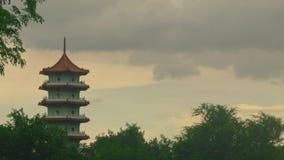 Κινεζικός πύργος ηλιοβασιλέματος απόθεμα βίντεο