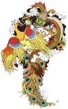 κινεζικός δράκος Φοίνικ&alph Στοκ Φωτογραφίες