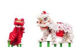 Κινεζικός χορός κοστουμιών λιονταριών Στοκ Εικόνες