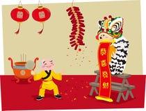 Κινεζικός χορός λιονταριών ελεύθερη απεικόνιση δικαιώματος