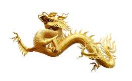 Κινεζικός χρυσός δράκος που απομονώνεται στο λευκό με το ψαλίδισμα της πορείας Στοκ φωτογραφία με δικαίωμα ελεύθερης χρήσης