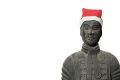 Κινεζικό άγαλμα πολεμιστών τερακότας με το καπέλο santa Στοκ Φωτογραφίες